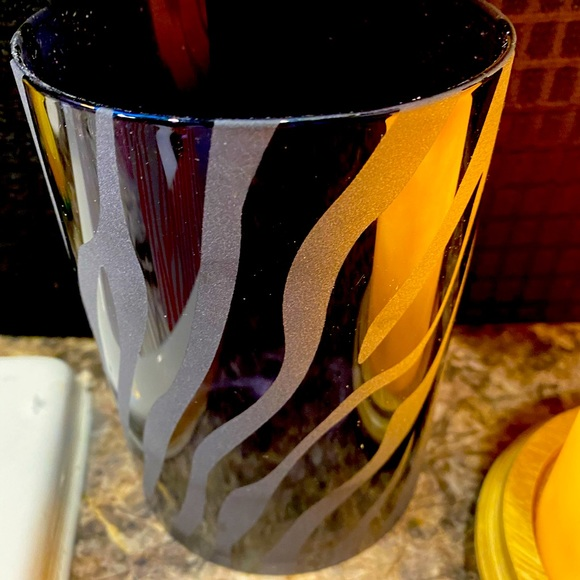 Black etched glass shade
